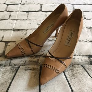 Jimmy Choo Pointy Toe Leather Heels Pumps Shoes